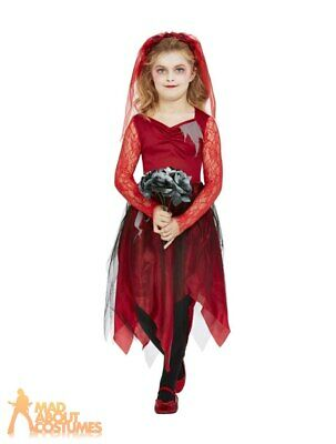 Kids Girls Graveyard Bride Costume Halloween Horror Zombie Fancy Dress Outfit • 14.99£
