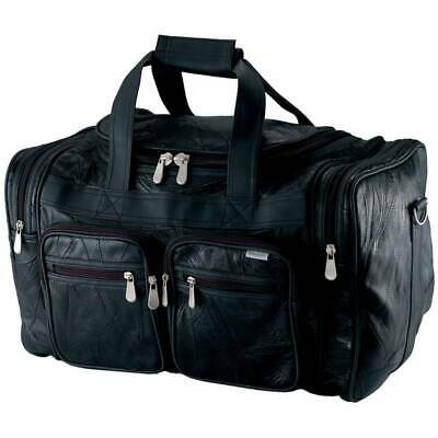 $34.99 • Buy DUFFLE TOTE BAG 19  Black Leather Gym Travel Carry On Luggage Shoulder Weekend