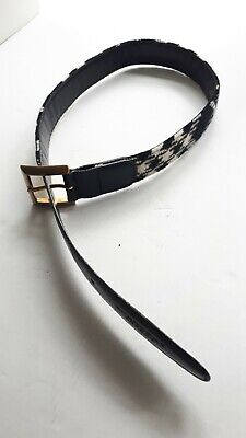 Burberry Ladies Black And Off White Wool Check Belt On Black Leather. Size 26in • 19.99£