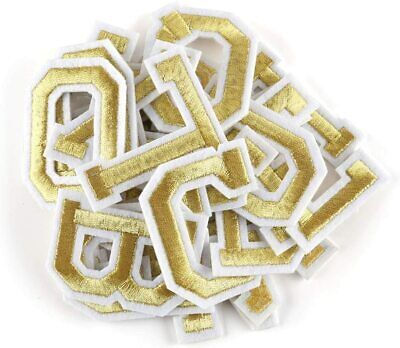 £0.99 • Buy Gold Letter Patch Patches Sew On / Iron On Alphabet Embroidered Clothes Letters