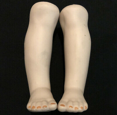 """$ CDN8.03 • Buy 4.25"""" Porcelain Buff Bisque SOLID Doll Lower Legs Feet For Vintage JOINTED BODY"""