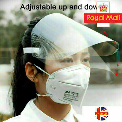 Full Face Visor Head Cover Transparent Protection Mask  Shield Clear Plastic PPE • 2.99£