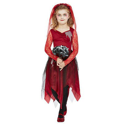 Kids Grave Yard Bride Costume Girls Zombie Halloween Fancy Dress Undead Outfit • 11.96£