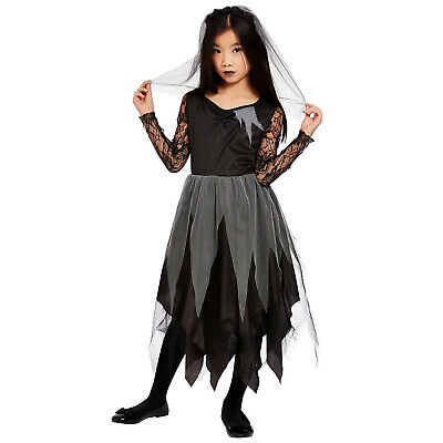 Kids Grave Yard Bride Costume Girls Undead Zombie Halloween Fancy Dress Outfit • 11.60£