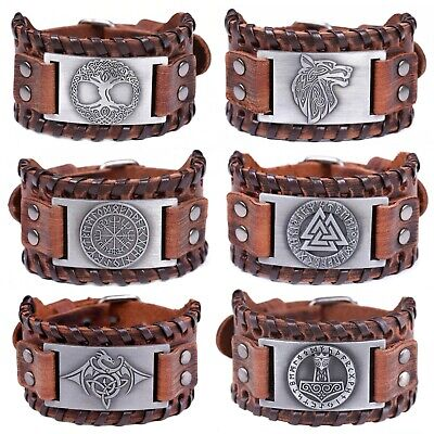 Mens Vintage Viking Brown Leather Norse Metal Rune Design Bracelet • 9.99£
