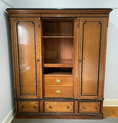 AU800 • Buy Antique Wardrobe Armoire With Wooden Inlay Detail And Brass Locks