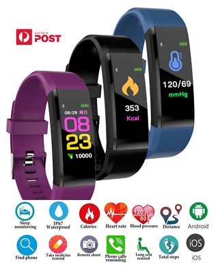 AU15.99 • Buy Fitness Activity Tracker Smart Watch Wristband Fitbit Style Exercise Monitor