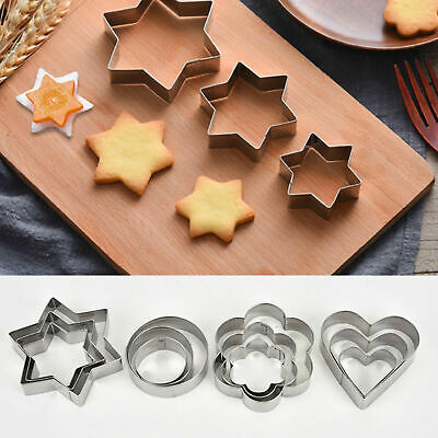 12Pcs/Set Star Heart Flower Cookie Cutter Sporting Shape Biscuit Making Mould UK • 4.79£