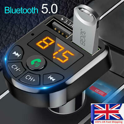 Bluetooth Car FM Transmitter MP3 Player Radio Wireless Adapter Kit 2 USB Charger • 5.56£
