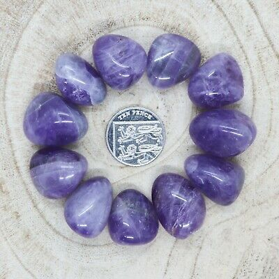 11 X Amethyst Tumblestones Crystals 112-120g Wholesale *CHOOSE YOUR OWN SET* • 7.95£