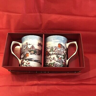 £9.99 • Buy Set Of Two Fine China Mugs Xmas Robins Theme By Lesser&pavey Gift Boxed