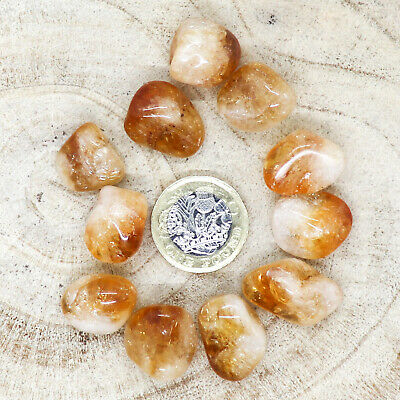 11 X Citrine Tumblestones Crystals 35-43g *CHOOSE YOUR OWN* Wholesale Therapists • 7.25£