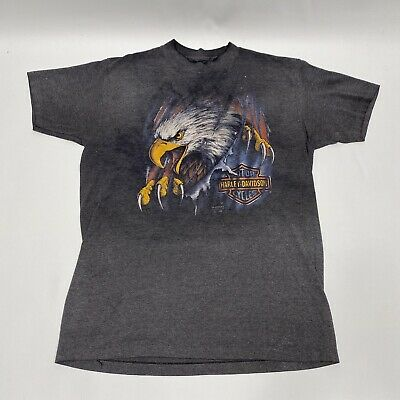 $ CDN120.58 • Buy Vintage 1990 Harley Davidson 3D Emblem Ripping Eagle T-Shirt Mens Large Faded