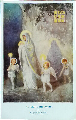 To Light His Path By Margaret W. Tarrant, Vintage Medici Society Postcard 1940 • 3.75£