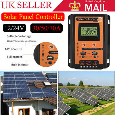 Solar Charge Controller Dual USB Panel 30/5070A PWM 12/24V Battery Regulator NEW • 35.49£