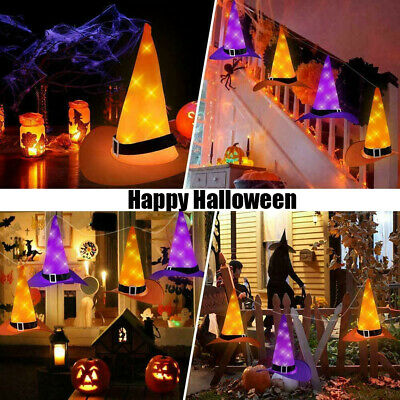 $ CDN19.81 • Buy 6PCS Halloween Decorations Hanging Lighted Glowing Witch Hats Outdoor Lights HOT
