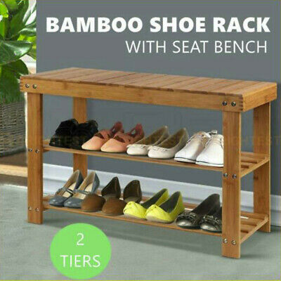 AU39.99 • Buy Bamboo Shoe Rack Stand Wooden Seat Bench Organiser Shelf Stool Chair Storage Cab