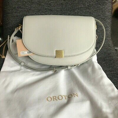 AU138 • Buy BNWT Oroton Voyage Saddle Bag Cloud Grey Pebble Leather