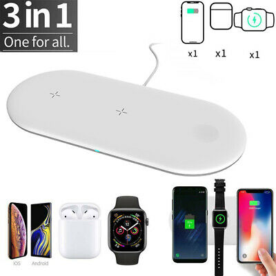 AU20.99 • Buy 3 In1 Qi Wireless Charger Charging Station Dock For Airpods IPhone Huawei Xiaomi