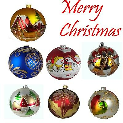 4pc Hand Painted  Christmas Tree Glass Baubles  Glitter Gold Teacher Gift • 9.59£