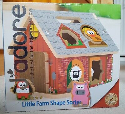 £15.99 • Buy J'adore Wooden Toy Farm Animal Shape Sorter 18 Months + NEW IN BOX