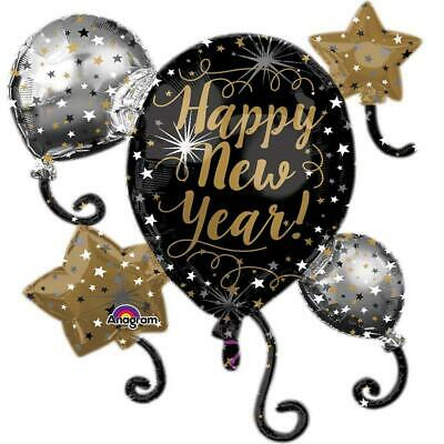 HAPPY NEW YEAR BALLOON BLACK Gold Eve Foil Party Decoration Large 30  Cluster • 3.49£