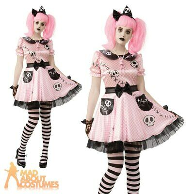 Adults Ladies Skeleton Doll Costume Pink Skelly  Halloween Fancy Dress Outfit  • 24.99£