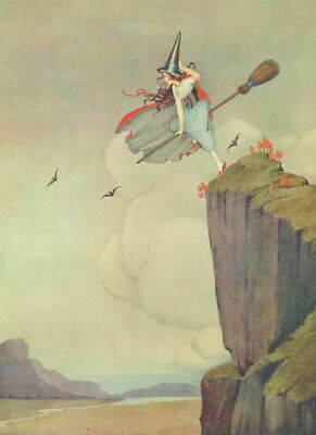 $ CDN2.45 • Buy Halloween Repro Postcard - Witch On Broomstick, Windy Day W/ Bats & Clouds