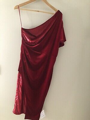 AU50 • Buy ASOS Red Velvet Dress One Shoulder Size 14