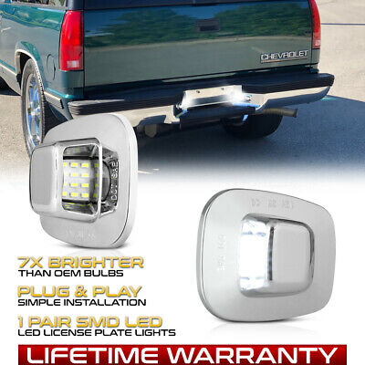 $15.99 • Buy  CHROME  LED License Plate Lights Tag Lamps For Chevy S10 Tahoe GMC Yukon Sonoma