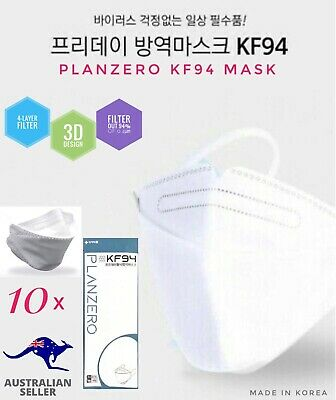 AU46.95 • Buy *10 Pack* Planzero 3D 4-Layer KF94 Filtered Protection Face Mask KOREA (AU STOCK