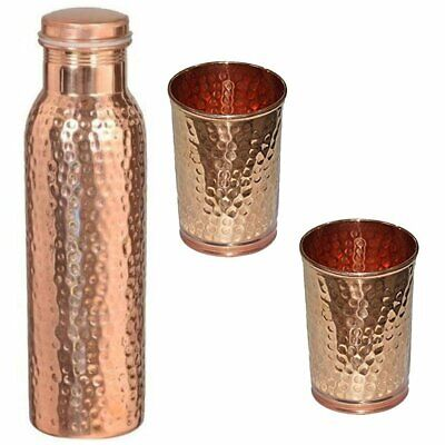 Set Of Pure Copper Bottle With 2 Hammered Glass - Hammered Copper Healthy Water  • 15.49£