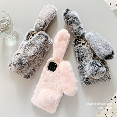 For IPhone 11 Pro X 8 Plus 7 6S Animal Rabbit Fur Plush Fuzzy Fluffy Case Cover • 5.36£