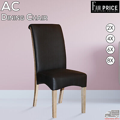 AU1379 • Buy New 2, 4, 6, 8 AC Dining Chair Leather Air Solid Wooden Legs, Black Color, Cafe