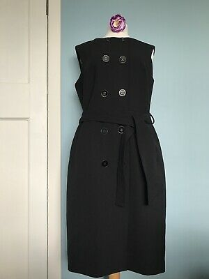 Warehouse Black Button Front Sleeveless Belted Dress Work Career Size 16 • 17.99£