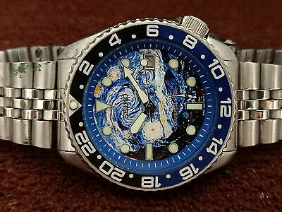 $ CDN88.49 • Buy The Starry Night Face Modded Seiko Diver 7002-7000 Automatic Men's Watch 121022