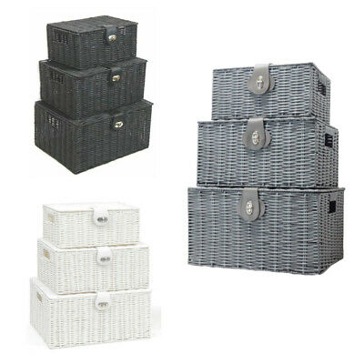 Set Of 3 Resin Wicker Wove Baskets Storage Hamper Box Storage With Lid Lock UK • 15.89£
