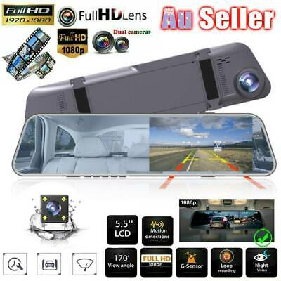 AU38.99 • Buy 5.5  12MP Touch Screen Rear View Mirror Car Dash Cam Reversing Recorder Camera