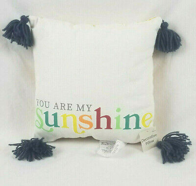 You Are My Sunshine 14 X 14 Square Throw Pillow With Grey Blue Tassels Brand New • 6.02£