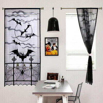 $ CDN12.39 • Buy Black Lace Bat Halloween Props Party Scary Indoor Decorations Window Curtains/