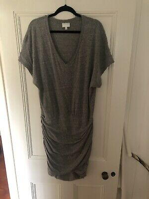 AU25 • Buy Very Flattering Country Road Ruched Bottom Grey Dress - Size 16