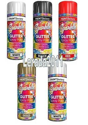 Glitter Effect Spray Paint Red Gold Silver Black White Craft Art Decoration • 5.99£
