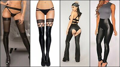 Sexy Lady Black Faux Leather Stockings,trousers Pants Lingerie Size 10-14 Uk • 8.99£