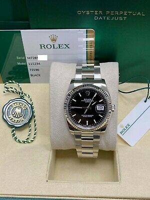 $ CDN9335.87 • Buy Brand New Rolex Date 115234 Black Dial Stainless Steel Box Papers