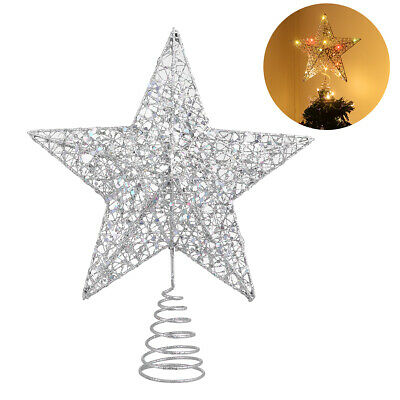 LED Glitter Star Christmas Tree Topper Xmas With Warm LED String Light 1.5M Home • 7.59£