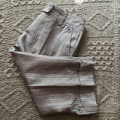 River Island Linen & Cotton Grey Striped Cropped Trousers • 8.99£