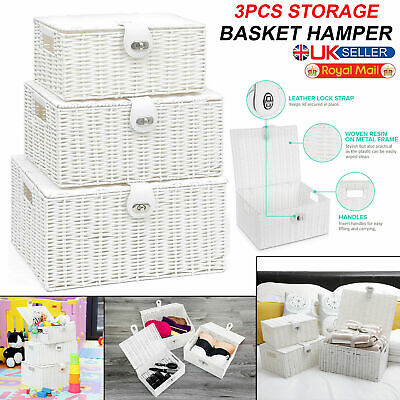 3x Resin Wicker Hamper Basket Storage Organiser Lid Box Small Medium Large White • 18.25£