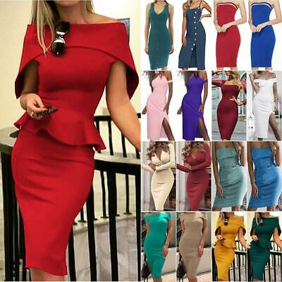 AU18.14 • Buy Women Solid Bodycon Midi Dress Ladies Summer Evening Cocktail Party Club Dresses