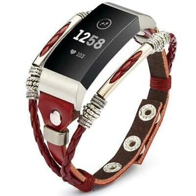 AU16.99 • Buy For Fitbit Charge 2/HR Replacement Unique Leather Wristband Band Strap Bracelet