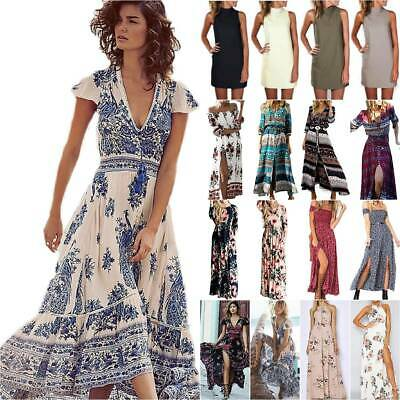 AU30.68 • Buy Women Wrap Boho Floral Paisley Maxi Dress Ladies Summer Holiday Beach Dresses AU